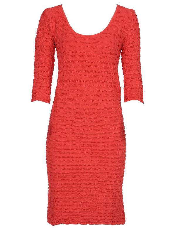 19DP-159 Coral Crinkle Scoop Neck Dress