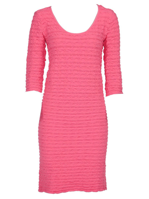 19DP-174 Bermuda Pink Crinkle Scoop Neck Dress