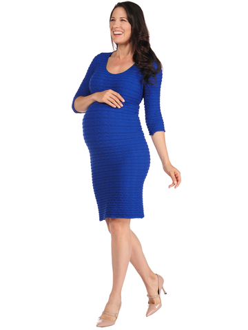 19DP-138 Cobalt Crinkle Scoop Neck Dress