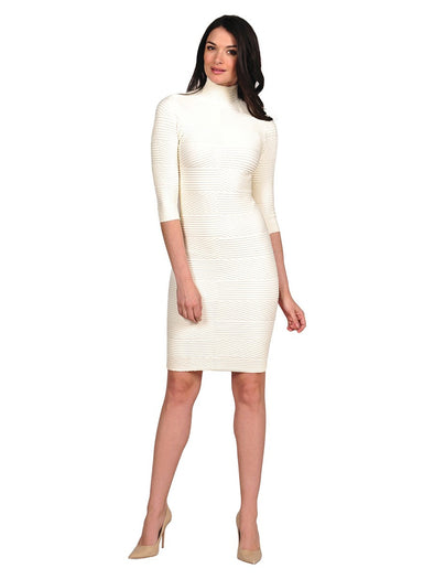 16DMN-181 Cream Textured Mock Neck Dress