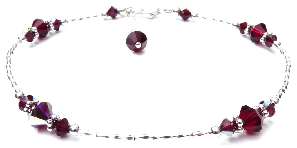 Whisper of Sterling Silver Anklet in January Garnet Birthstone Crystals