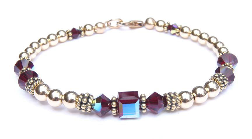 14kt Gold Filled January Birthstone Bracelets in Simulated Red Garnet Swarovski Crystals