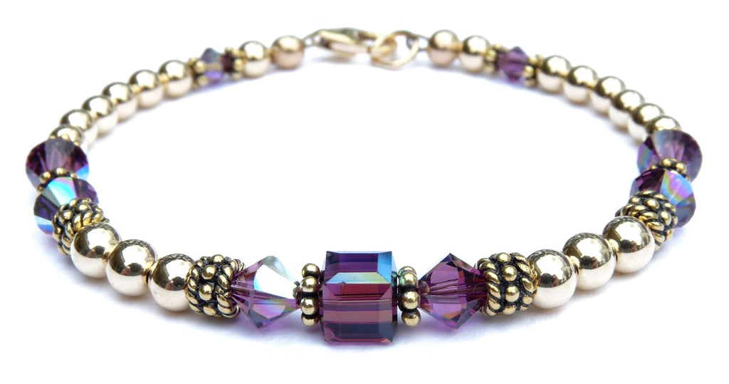 14kt Gold Filled February Birthstone Bracelets in Simulated Purple Amethyst Swarovski Crystals