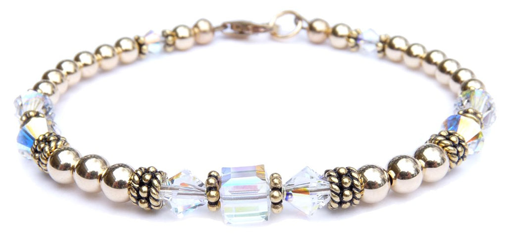 "14kt Gold Filled April Birthstone Bracelets in Simulated ""Diamond"" Swarovski Crystals"