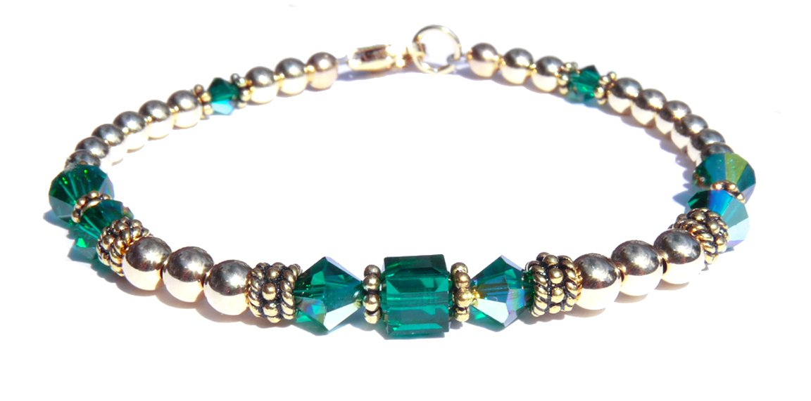 14kt Gold Filled May Birthstone Bracelets in Simulated Green Emerald