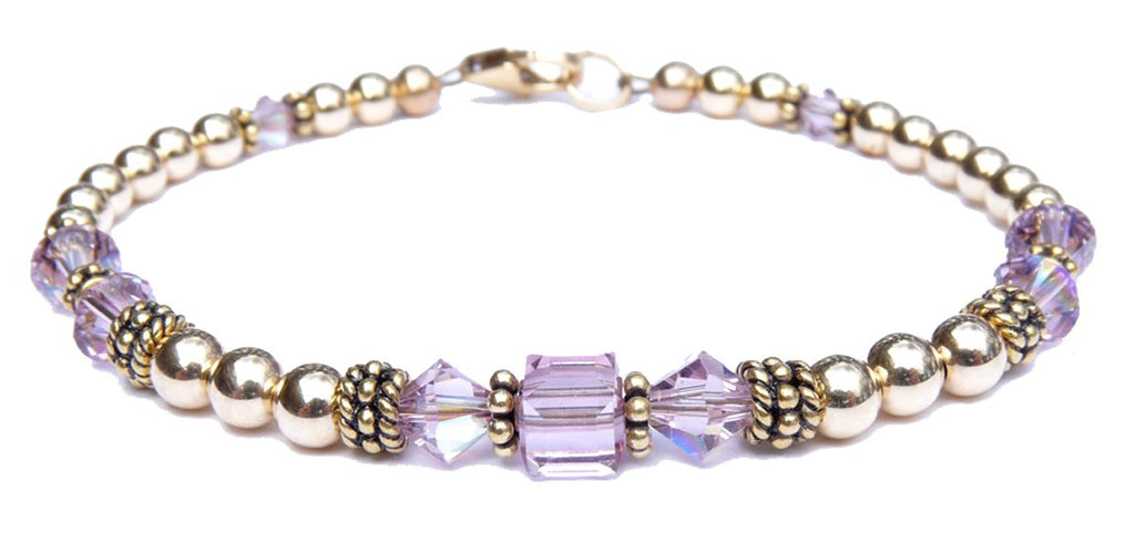 14kt Gold Filled June Birthstone Bracelets in Simulated Purple Alexandrite Swarovski Crystals