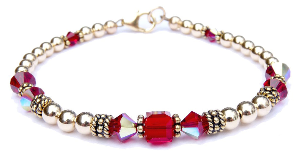 14kt Gold Filled July Birthstone Bracelets in Simulated Red Ruby Swarovski Crystals