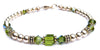 14kt Gold Filled August Birthstone Bracelets in Simulated Green Olivine Swarovski Crystals