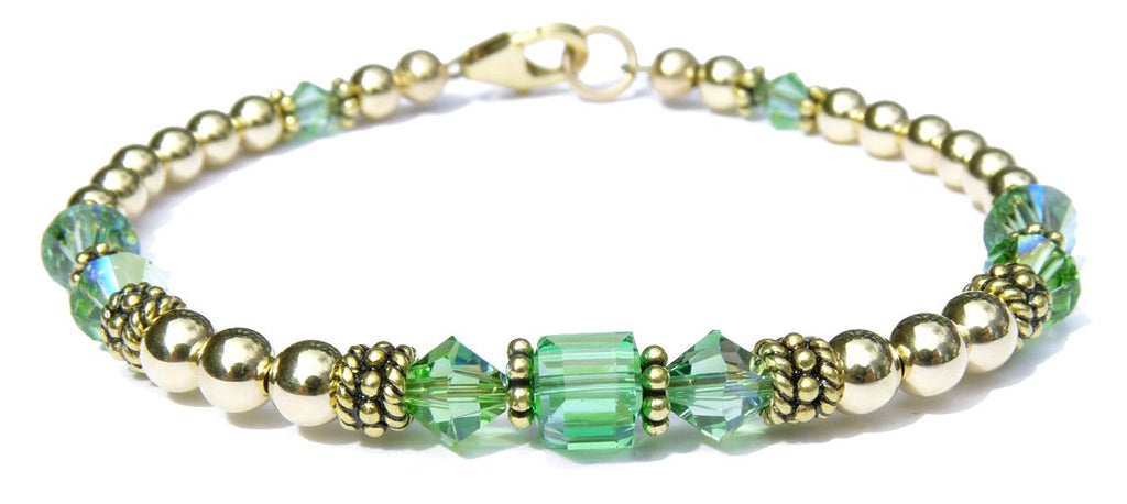 14kt Gold Filled August Birthstone Bracelets in Simulated Green Peridot Swarovski Crystals