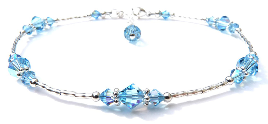 Whisper of Sterling Silver Anklet in March Aquamarine Birthstone Crystals