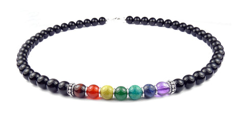 8MM Authentic Chakra Gemstone Necklace, 7 Stone Chakra Balance Align Energy Crystal Healing Energy NEC-CHA01