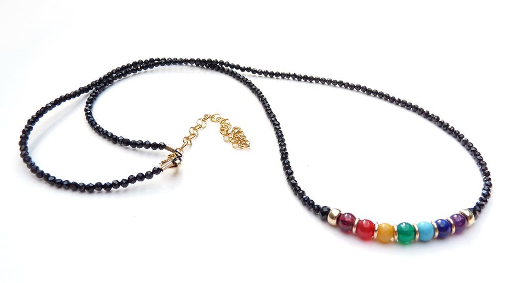 Black Spinel Chakra Necklace Balance, 3MM Black Spinel Align Healing Crystals NEC-CHA23