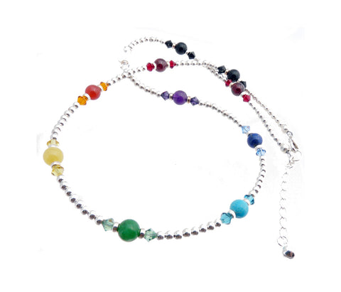 Silver Chakra Gemstone Necklace Authentic 7 Stone Chakra Balancing, Alignment, Healing Crystals NEC-CHA04