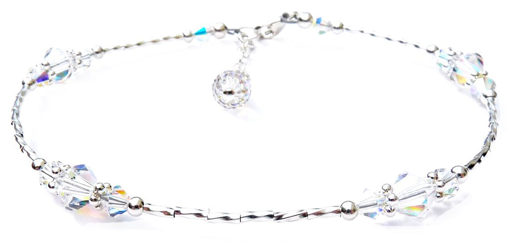 Whisper of Sterling Silver Anklet in April Birthstone Crystals