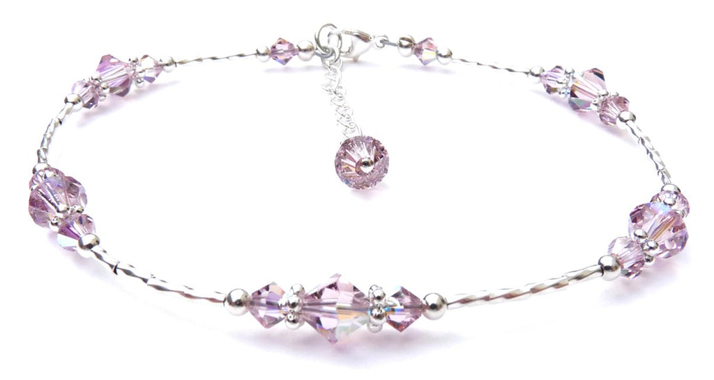 Whisper of Sterling Silver Anklet in June Alexandrite Birthstone Crystals