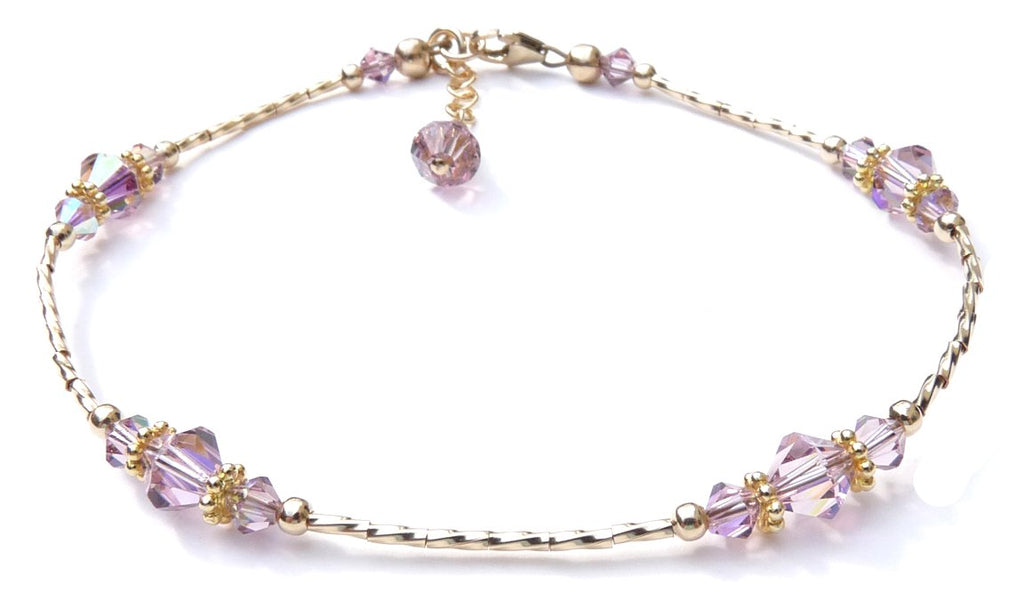 Whisper of 14k Gold Filled Anklet in June Alexandrite Birthstone Crystals
