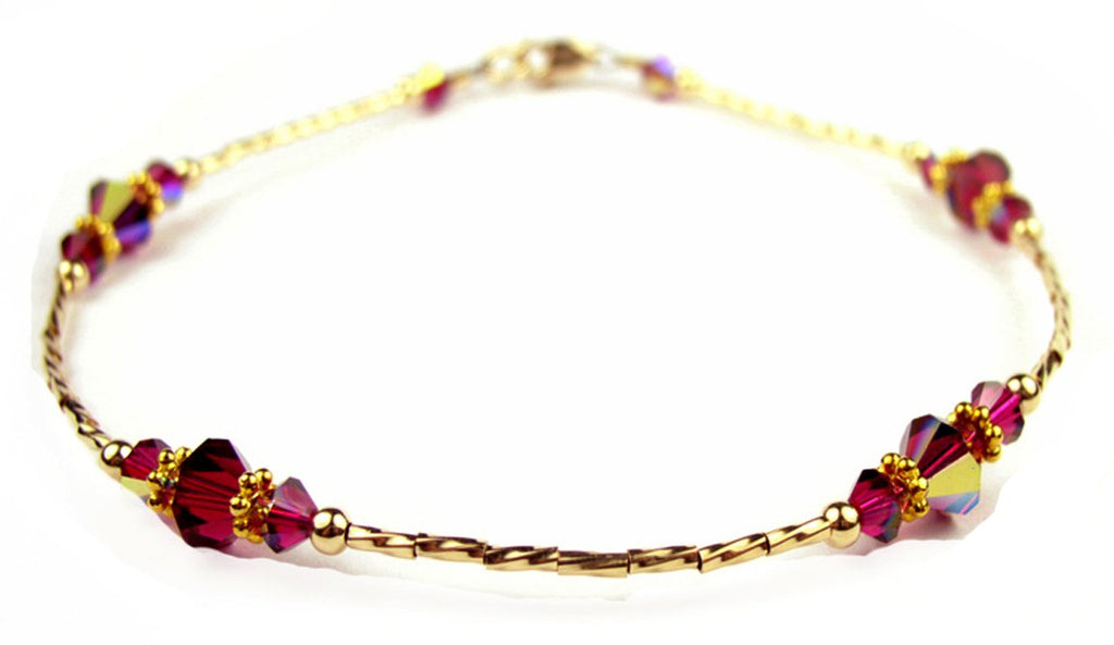 Whisper of 14k Gold Filled Anklet in July Ruby Birthstone Crystals