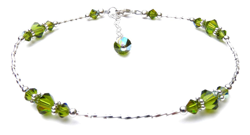 Whisper of Sterling Silver Anklet in August Dark Peridot Birthstone Crystals