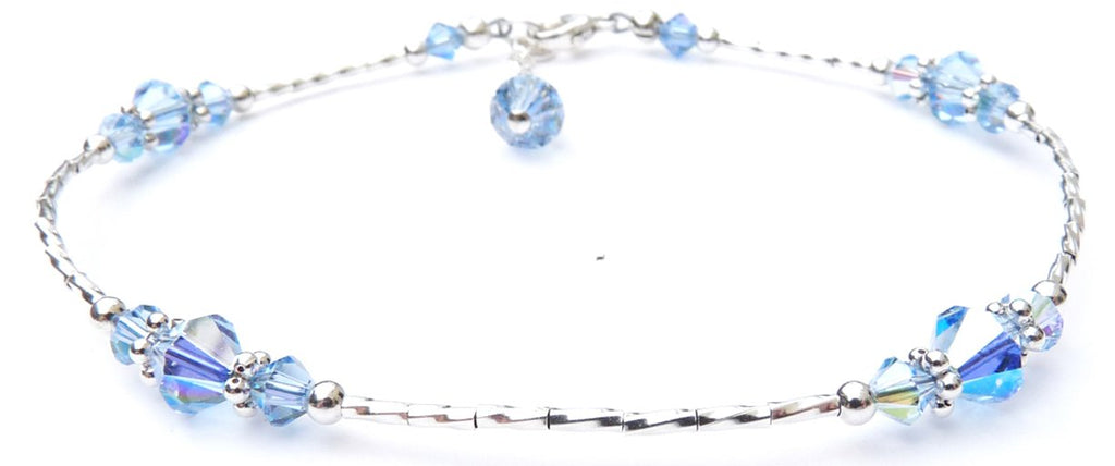 Whisper of Sterling Silver Anklet in September Light Sapphire Birthstone Crystals