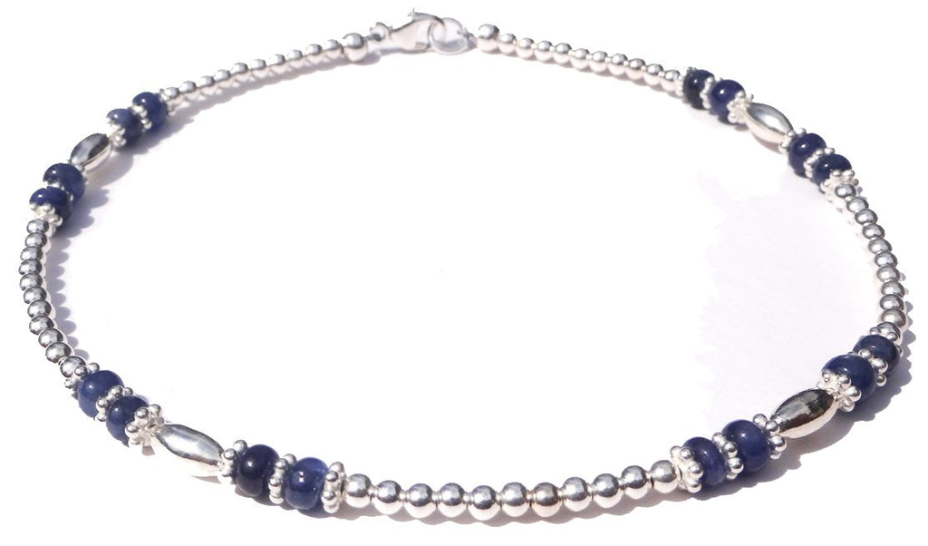 Sterling Silver Genuine Sapphire Gemstone Beaded Ankle Bracelets for Women