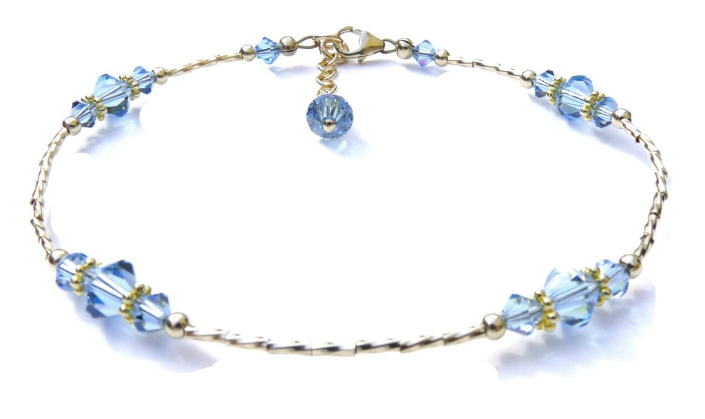 Whisper of 14k Gold Filled Anklet in September Sapphire Birthstone Crystals