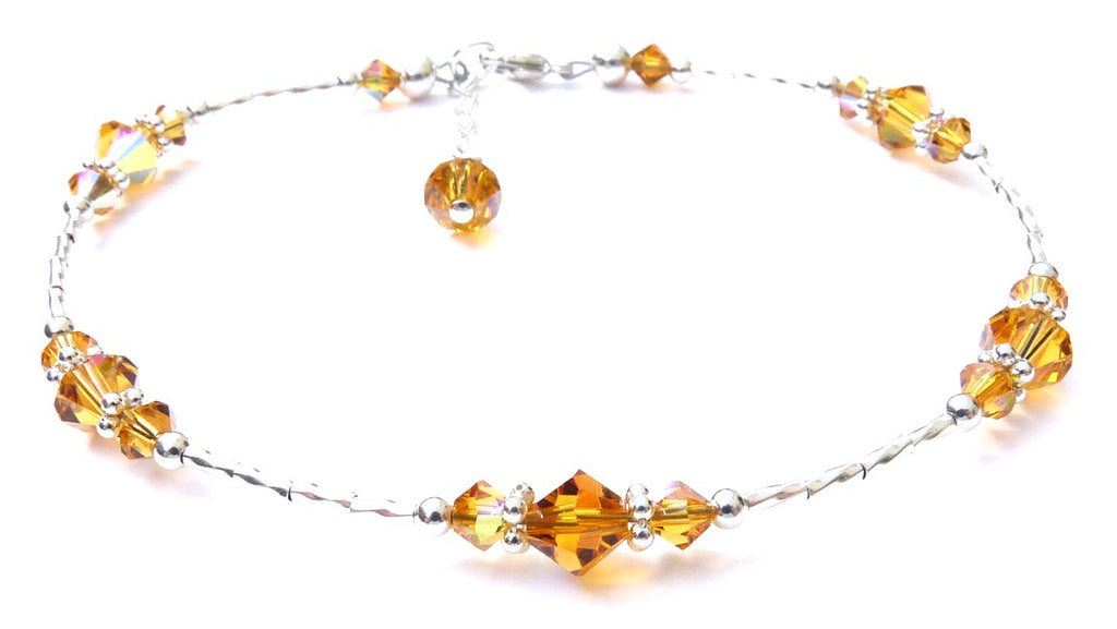 Whisper of Sterling Silver Anklet in November Yellow Topaz Birthstone Crystals