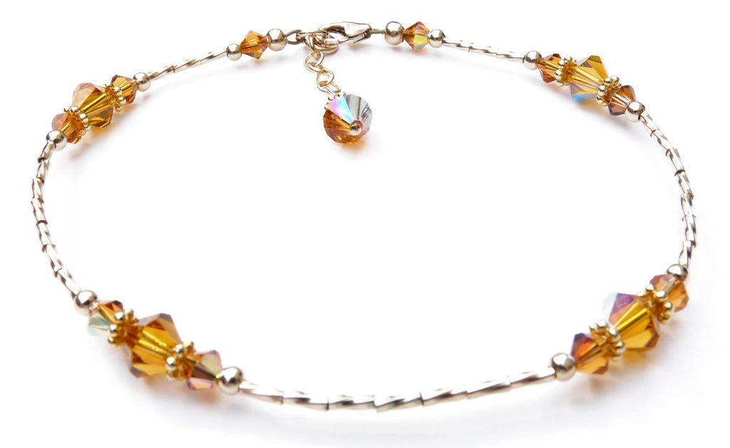 Whisper of 14k Gold Filled Anklet in November Yellow Topaz Birthstone Crystals