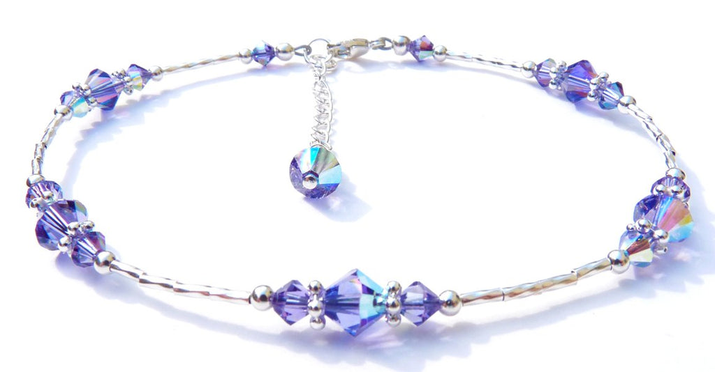 Whisper of Sterling Silver Anklet in December Tanzanite Birthstone Crystals
