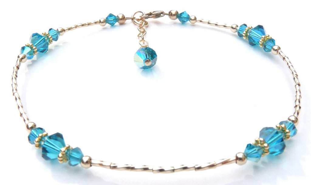 Whisper of 14k Gold Filled Anklet in December Tanzanite Birthstone Crystals