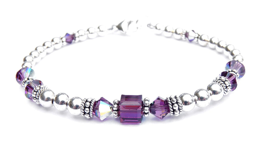 Solid Sterling Silver February Birthstone Bracelets in Simulated Purple Amethyst Swarovski Crystals