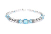 Solid Sterling Silver March Birthstone Bracelets in Simulated Blue Aquamarine Swarovski Crystals