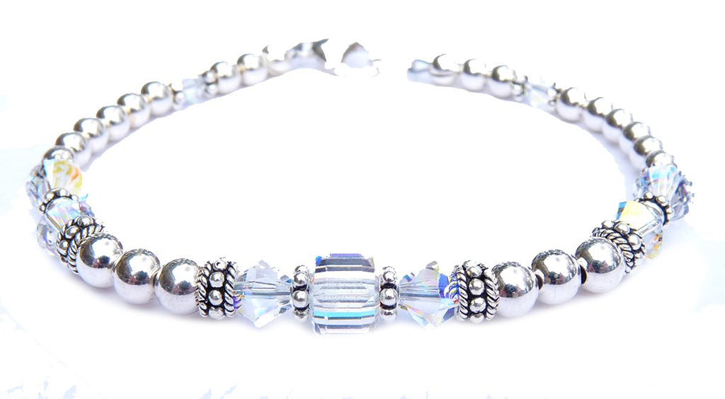 Solid Sterling Silver April Birthstone Bracelets in Simulated Clear Crystal April Swarovski Crystals
