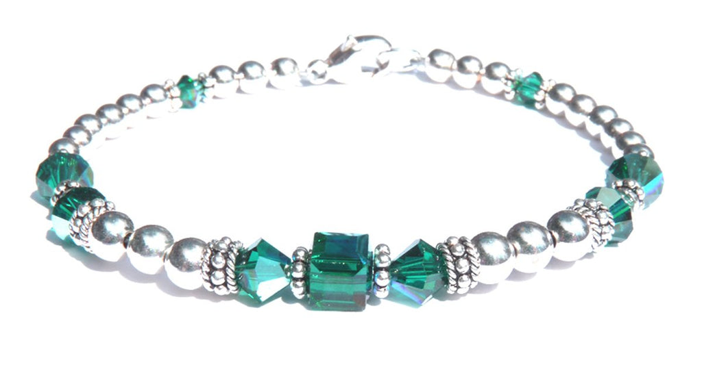 Solid Sterling Silver May Birthstone Bracelets in Simulated Green Emerald Swarovski Crystals