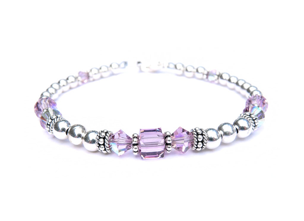 Solid Sterling Silver June Birthstone Bracelets in Simulated Purple Alexandrite Swarovski Crystals