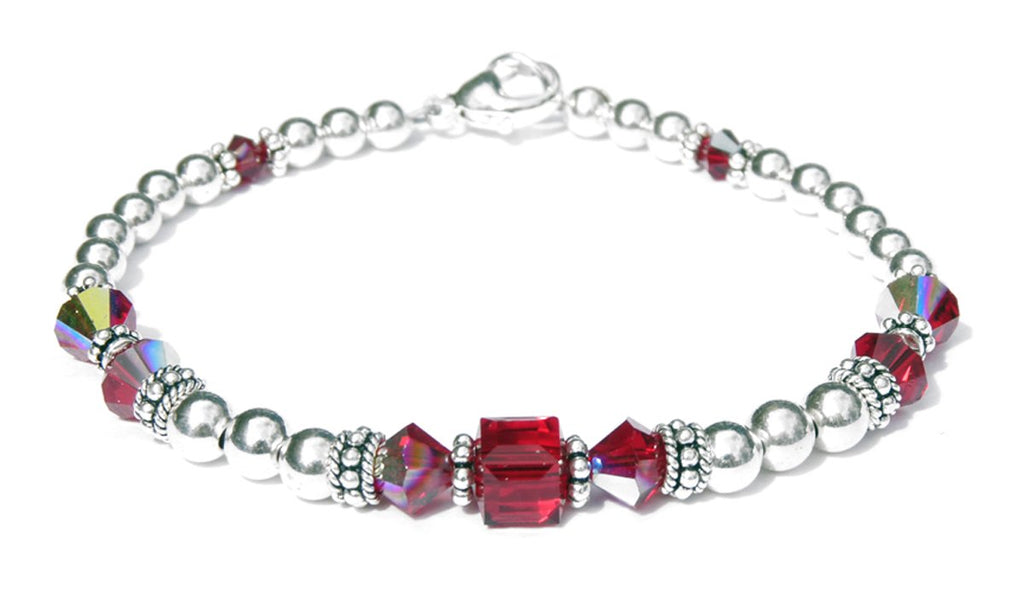 Solid Sterling Silver July Birthstone Bracelets in Simulated Red Ruby Swarovski Crystals