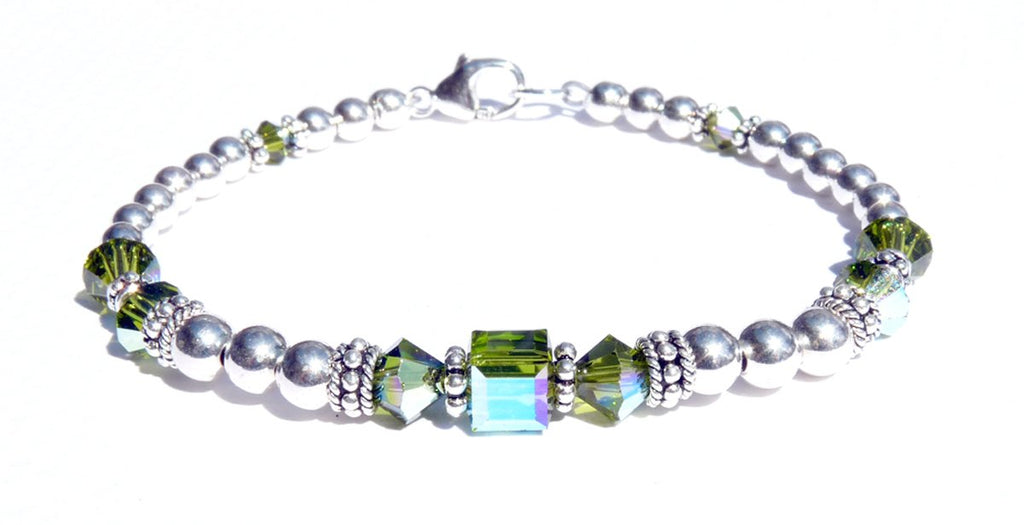 Solid Sterling Silver August Birthstone Bracelets in Simulated Green Peridot Swarovski Crystals