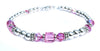 Solid Sterling Silver October Birthstone Bracelets in Simulated Pink Tourmaline Swarovski Crystals