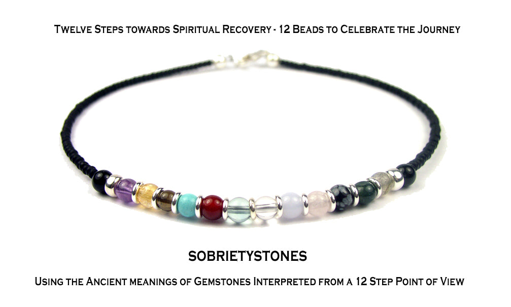 Sobriety Bracelet: Minimalist Black Stackable 12 Step Bracelets, AA Gift, Recovery Jewelry