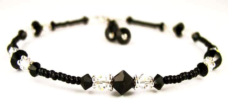 Sexy Black Beaded Anklet for Women in April Birthstone Crystals