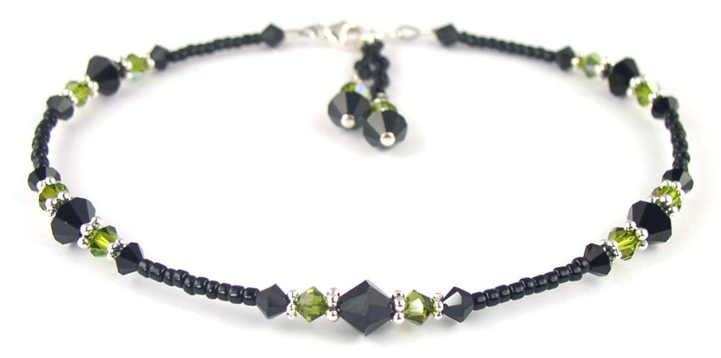 Sexy Black Beaded Anklet for Women in August Peridot Birthstone Crystals