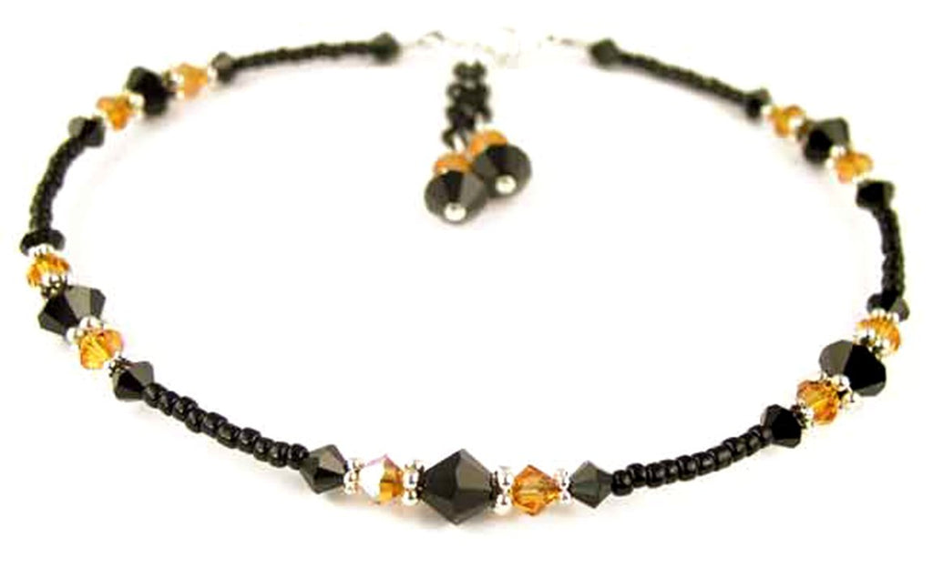 Sexy Black Beaded Anklet for Women in November Yellow Topaz Birthstone Crystals