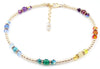 Sterling Silver Chakra Anklet Genuine Gemstone Beaded Balance for Yoga, Reiki, Prayer Mala Ankle Bracelet