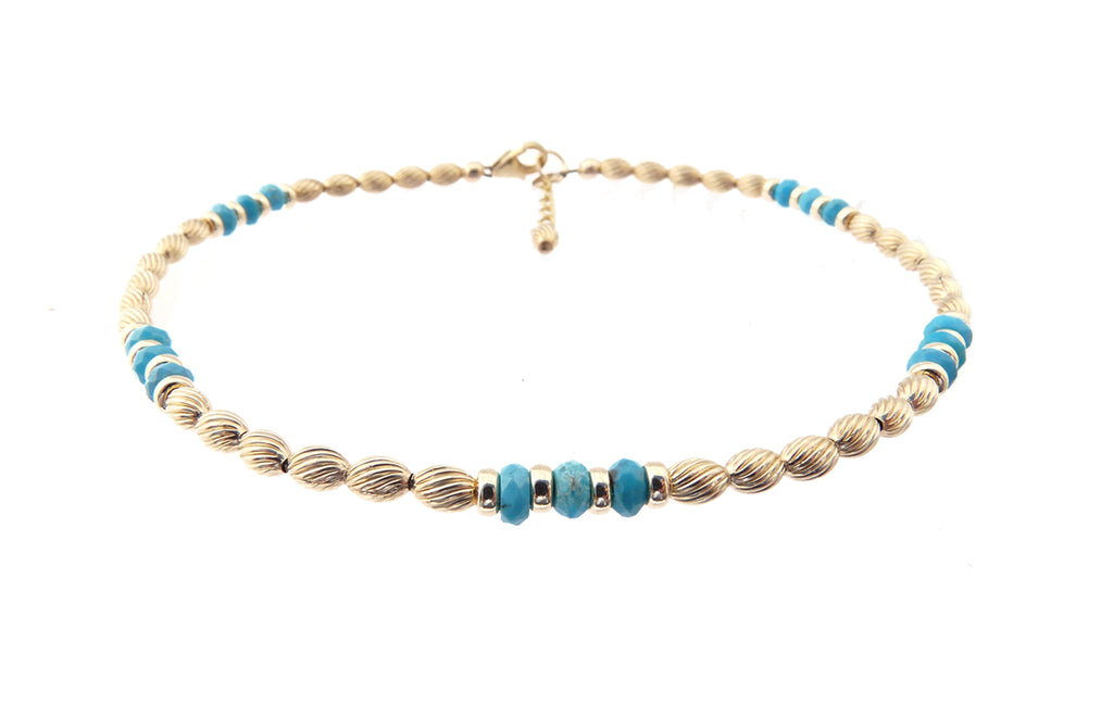 14k Gold-Filled Blue Turquoise Anklet | Communication | Expression | Intuition | Ankle Bracelet | Healing Crystals Gold Gemstone Anklets - DAMALI by GemstoneGifts Handmade Jewelry