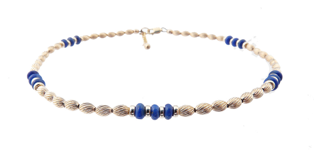 14k Gold-Filled Blue Lapis Lazuli Anklet | Transformation | Intuition | Personal Power | Ankle Bracelet | Healing Crystals Gold Gemstone Anklets - DAMALI by GemstoneGifts Handmade Jewelry