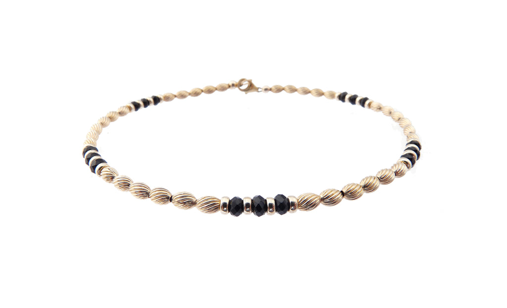 14k GF Black Spinel Gemstone Beaded Anklets, December Birthstone Crystal Healing Ankle Bracelets
