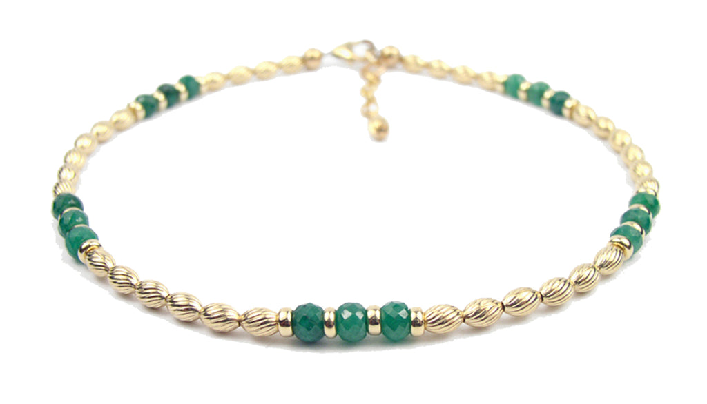 14k GF Emerald Gemstone Beaded Anklets, May Birthstone Crystal Healing Ankle Bracelets  - DAMALI by GemstoneGifts Handmade Jewelry