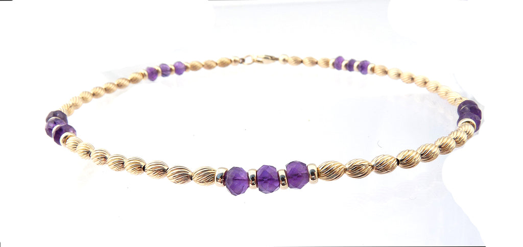 14k Gold-Filled Amethyst Anklet | Transformation, Intuition, & Spiritual Awareness Ankle Bracelet | Healing Crystals Gold Gemstone Anklets - DAMALI by GemstoneGifts Handmade Jewelry
