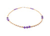 14k GF Amethyst Gemstone Beaded Anklets, February Birthstone Crystal Healing Ankle Bracelets