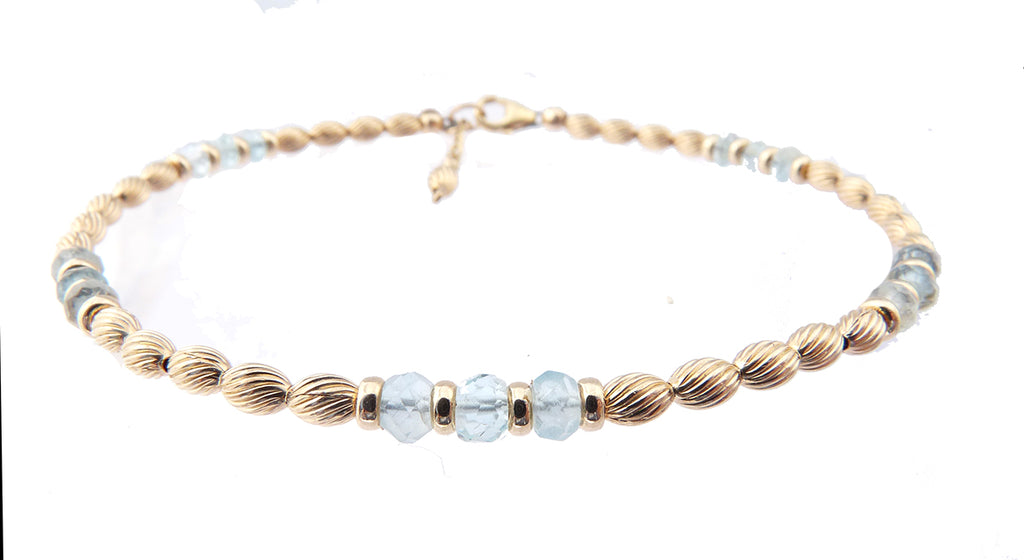 14k Gold-Filled Aquamarine Anklet | Courage, Communication, & Serenity Anklet Bracelet | Healing Crystals Gold Gemstone Anklets - DAMALI by GemstoneGifts Handmade Jewelry