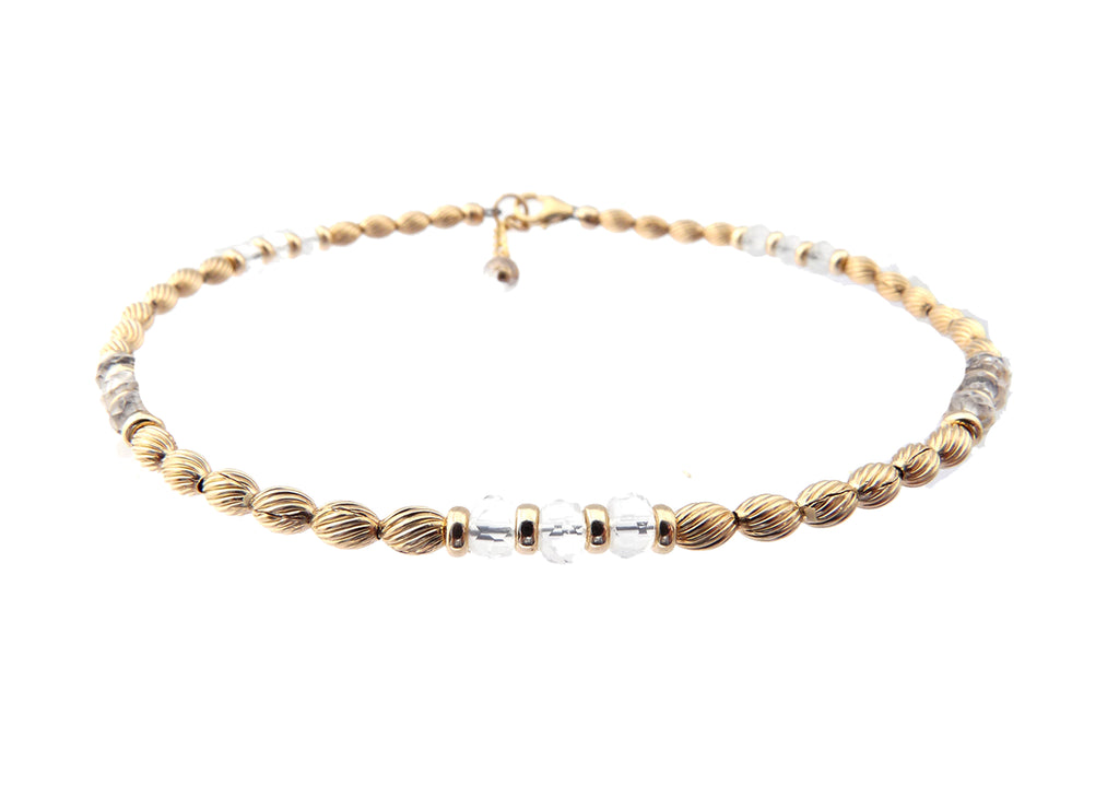 14k Gold-Filled Quartz Anklet | Applifies, Transforms, Energizes Ankle Bracelet | Healing Crystals Gold Gemstone Anklets - DAMALI by GemstoneGifts Handmade Jewelry